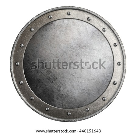 simple metal round shield isolated 3d illustration - stock photo