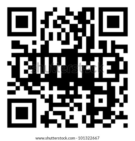 Simple modern qr code with buy me for shopping icon - stock photo