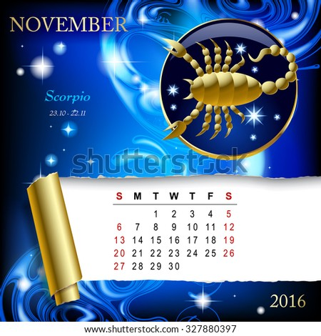Simple monthly page of 2016 Calendar with gold zodiacal sign against the blue star space background. Design of January month page with Capricorn figure - stock photo