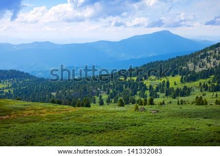 Simple  mountains landscape. Altai, Siberia - stock photo