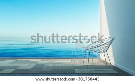 Simple of Modern Living Sea view / 3D render image - stock photo