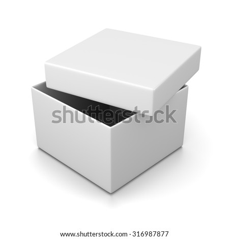 Simple Open White Box with Cover on White Background 3D Illustration - stock photo