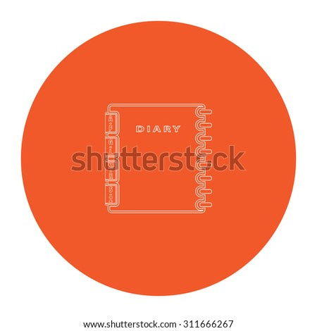 Simple organizer. Flat white symbol in the orange circle. Outline illustration icon - stock photo