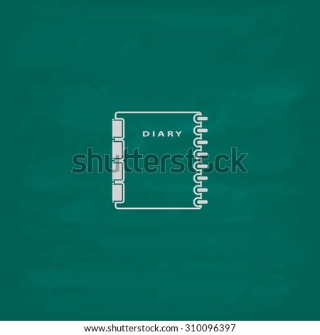 Simple organizer.  Icon. Imitation draw with white chalk on green chalkboard. Flat Pictogram and School board background. Illustration symbol - stock photo