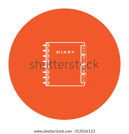 Simple organizer. Simple flat white icon in the orange circle. illustration symbol - stock photo