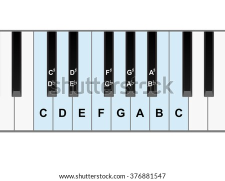 Simple piano keyboard showing full octave of notes   - stock photo