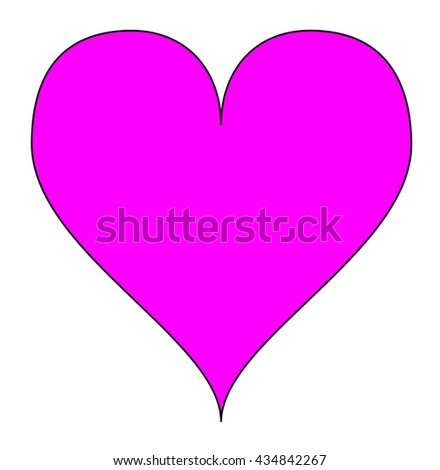 Simple pink heart, isolated over a white background. Illustration. - stock photo