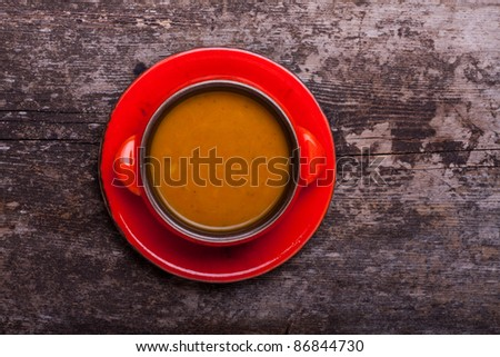 simple pumpkin soup in a bowl - stock photo
