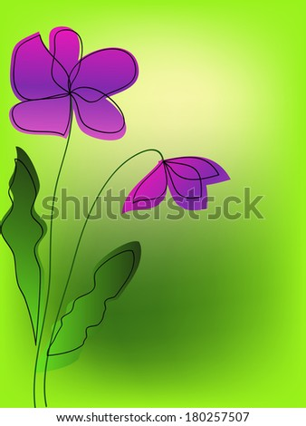 simple purple flowers on green background - stock photo