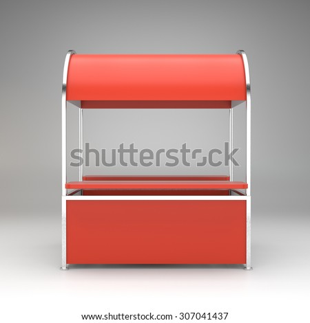 simple red and white kiosk or stand from front view - stock photo