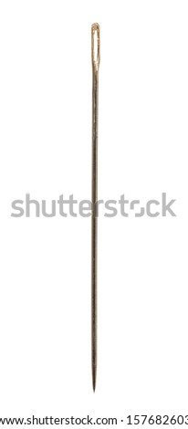 Simple sewing needle isolated on white background cutout - stock photo