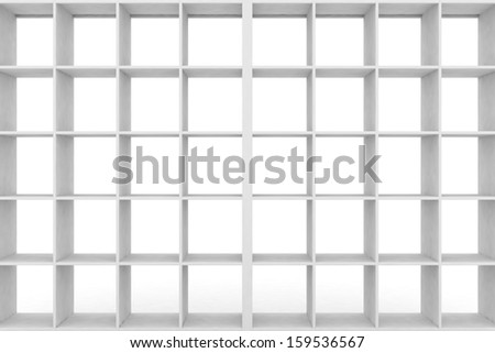 Simple shelf with empty racks. 3d render illustration - stock photo