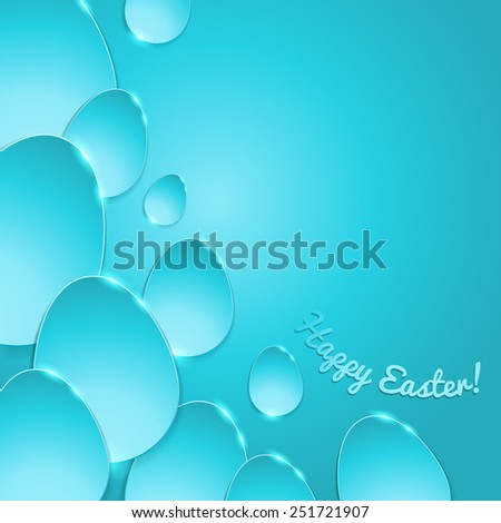 Simple shiny flat eggs on gradient background - turquoise color. Good for Easter design. - stock photo