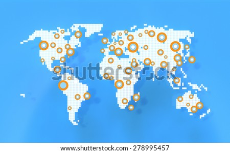 Simple social networking world map concept with points indicating human activity. Isolated on white background. - stock photo
