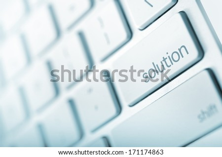 Simple Solution - Keyboard Solution Button. Just Press It! Abstract Technology and Business. - stock photo