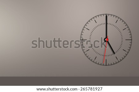 Simple swiss clock on grey isolated background - stock photo