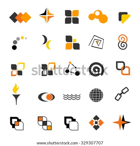 Simple two color logo shape collection isolated on white background  - stock photo