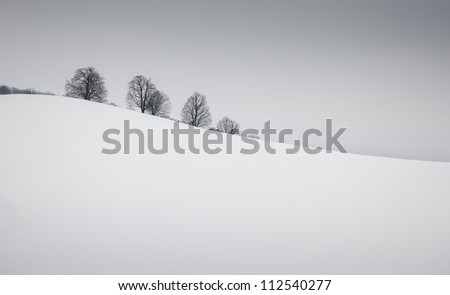 simple winter landscape - stock photo