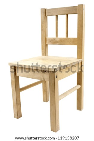 Simple wooden chair isolated on white background - stock photo