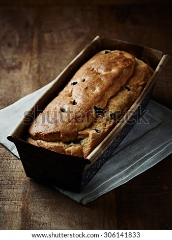 Simple yeast cake with blueberries - stock photo