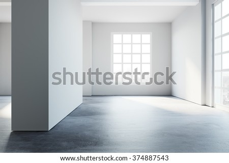 Simply loft style empty interior space. 3d rendering - stock photo