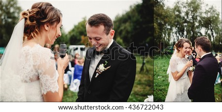 Sincere speech of the bride on the wedding ceremony - stock photo