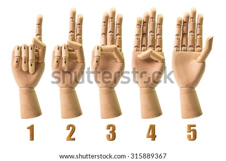 Sing of number from wooden hand isolated on white background - stock photo