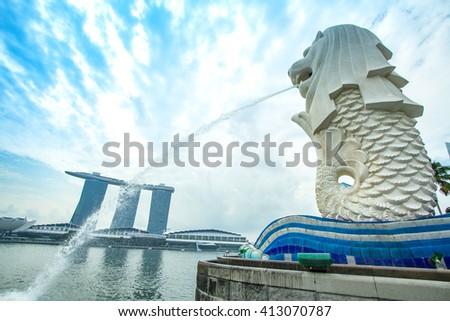 Singapore, April 2016, Marina Bay Sand  at Melion Bay in Marina Bay , Singapore  is the world's fourth leading financial center. - stock photo