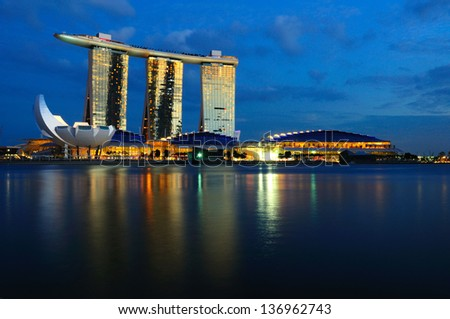 SINGAPORE - APRIL 26, 2013: The Marina Bay Sands' casino license has been renewed by another three years by the Casino Regulatory Authority effective April 26, 2013. - stock photo
