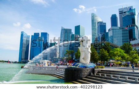 Singapore ,April 3 -2016 unidentified   tourist watching and taking picture at Merlion famous place in Singapore  Singapore  April, 3 , 2016 - stock photo
