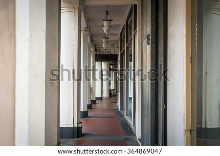 Singapore arcade street. Arched walkway in Singapore - stock photo