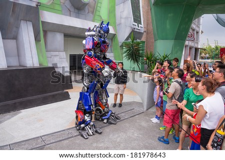 SINGAPORE, AUGUST 26,2013 : Optimus Prime display to audience in Universal Studios , August 26, 2013, Singapore - stock photo