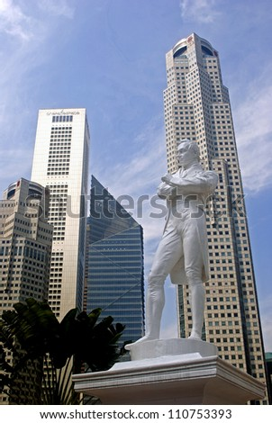 SINGAPORE - AUGUST 11: Sir Stamford Raffles on August 11, 2012 in Singapore. The founder of Singapore had landed on this spot for the first time and started to build a new city in Asia. - stock photo