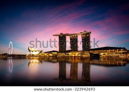SINGAPORE - AUGUST 25 : Skyline of Singapore building on August 25, 2015 in Singapore. - stock photo