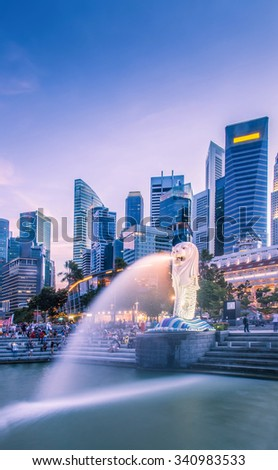 SINGAPORE - AUGUST 31,2015 The Merlion is a traditional creature in western heraldry that depicts a creature with a lion's head and a body of a fish - stock photo