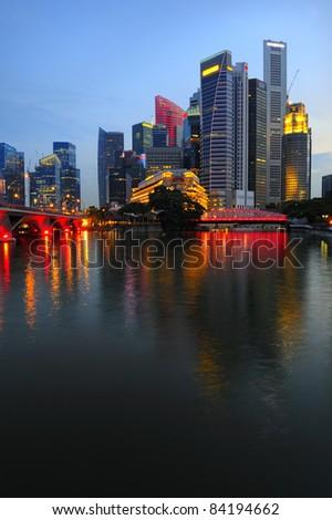 Singapore Business District skyline - stock photo