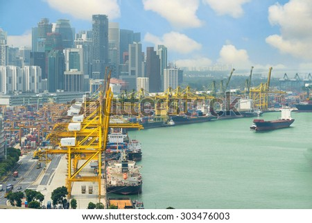 Singapore cargo terminal,one of the busiest Import, Export, Logistics ports in the world, Singapore.  - stock photo