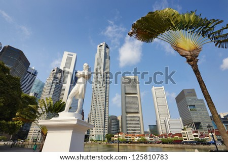 Singapore center with skyscrapers - stock photo