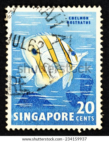 SINGAPORE - CIRCA 1962: Blue color postage stamp printed in Singapore with image of a Chelmon Rostratus fish, also known as Copperband Butterflyfish. - stock photo