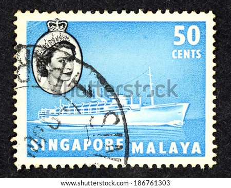 SINGAPORE - CIRCA 1961: Blue color postage stamp printed in Singapore with image of a cruise liner ship.  - stock photo