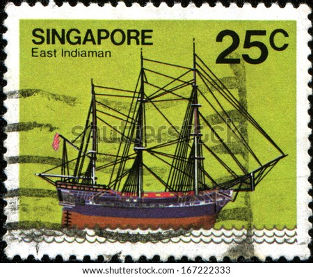 SINGAPORE - CIRCA 1980: Postage stamp printed in Singapore shows East Indiaman, circa 1980 - stock photo