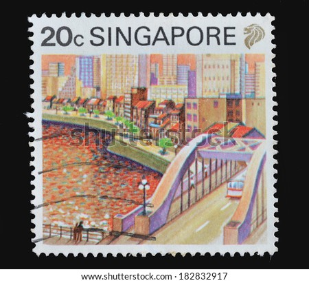 SINGAPORE - CIRCA 1987 : postage stamps printed in Singapore, depicted the cityscape of Singapore, circa 1987 - stock photo