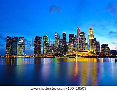 Singapore city at night - stock photo