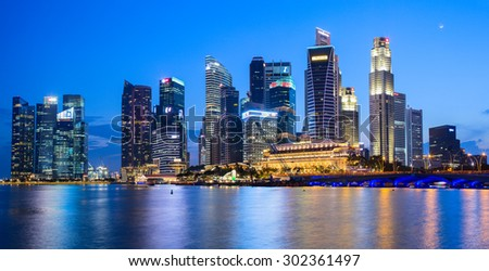 SINGAPORE CITY, SINGAPORE - 26 OCTOBER 2014: Evening view of Downtown Core Skyscrapers and Bayfront district. Singapore City state. - stock photo