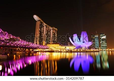 Singapore city skyline at beautiful twilight - stock photo