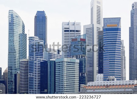 Singapore city skyline at day asia famous downtown  - stock photo