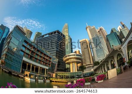 Singapore City Skyline Building at Marina Bay - stock photo