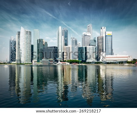 Singapore city skyline of business district downtown in daytime. Vintage retro effect filtered image of  - stock photo