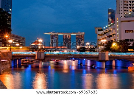 Singapore cityscape at night showing the financial district - stock photo