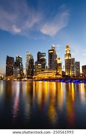 Singapore cityscape at night  with reflect , Singapore - 17 January 2015 - stock photo